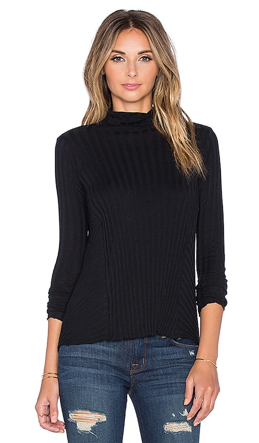 Enza Costa Cashmere Flare Long Sleeve Turtleneck Sweater in Black