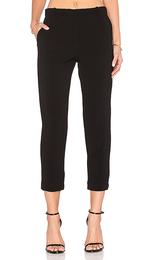 Enza Costa Cropped Slim Trouser in Black