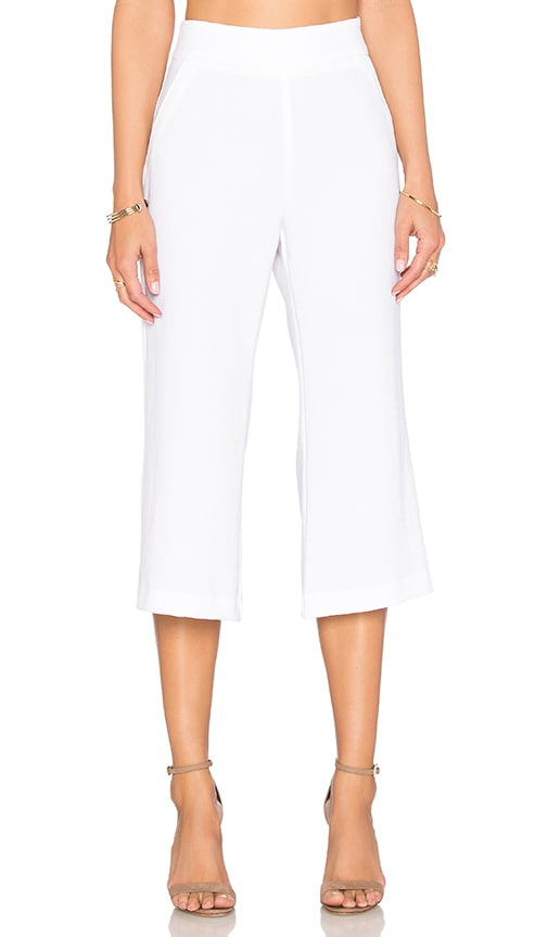 Enza Costa Cropped Flare Trouser Pant in White