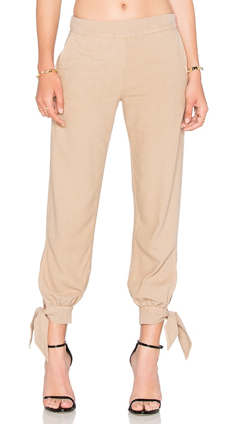 Enza Costa Silk Noil Ankle Tie Easy Pant in Mojave