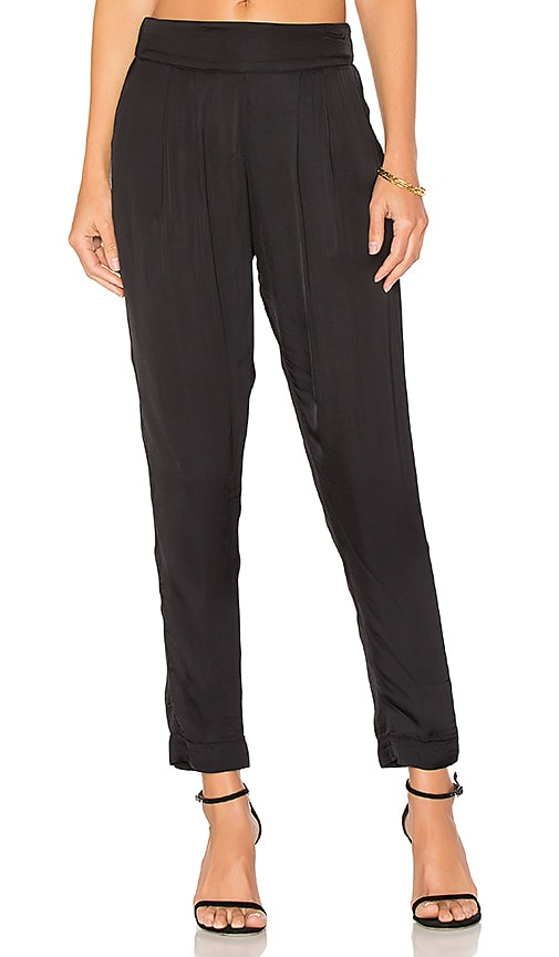 Enza Costa Pleated Easy Pant in Black