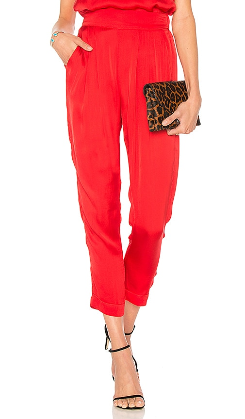 Enza Costa Pleated Easy Pant in Red