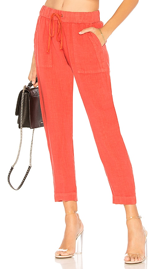 Enza Costa French Linen Easy Pant in Orange