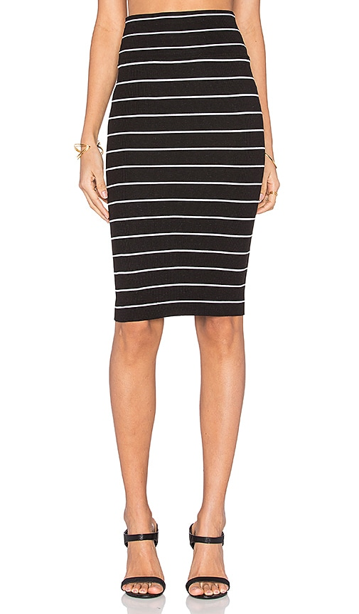Enza Costa Rib Pencil Skirt in Black and White