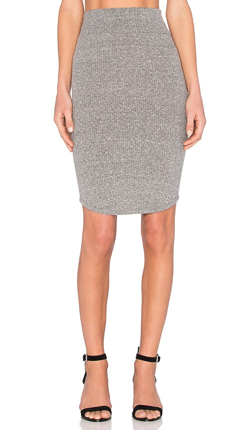 Enza Costa Rib Baseball Skirt in Gray