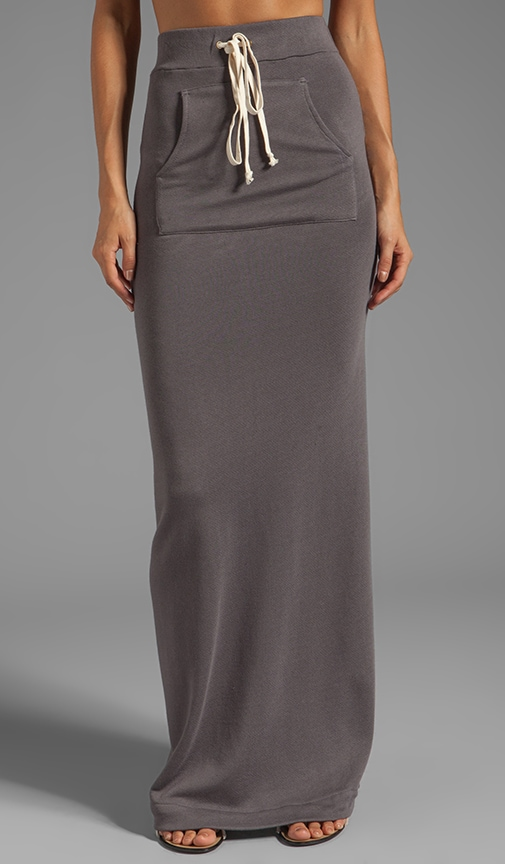 Cashmere French Terry Slit Maxi Skirt
