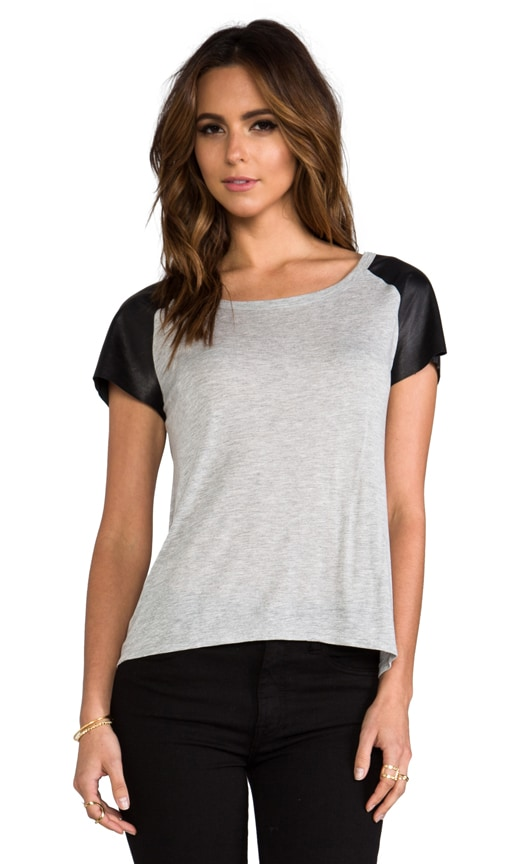 Leather Sleeve Raglan Tee