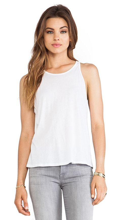 Enza Costa Tissue Jersey Crop Tank in White
