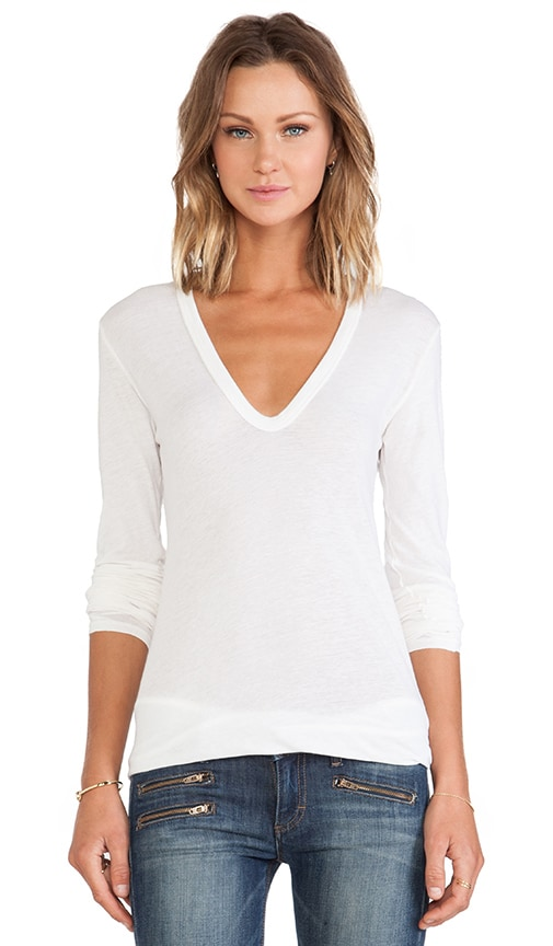 Tissue Jersey Bold Long Sleeve U Neck