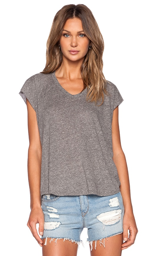 Enza Costa Twist Jersey Sleeveless Cropped V in Gray
