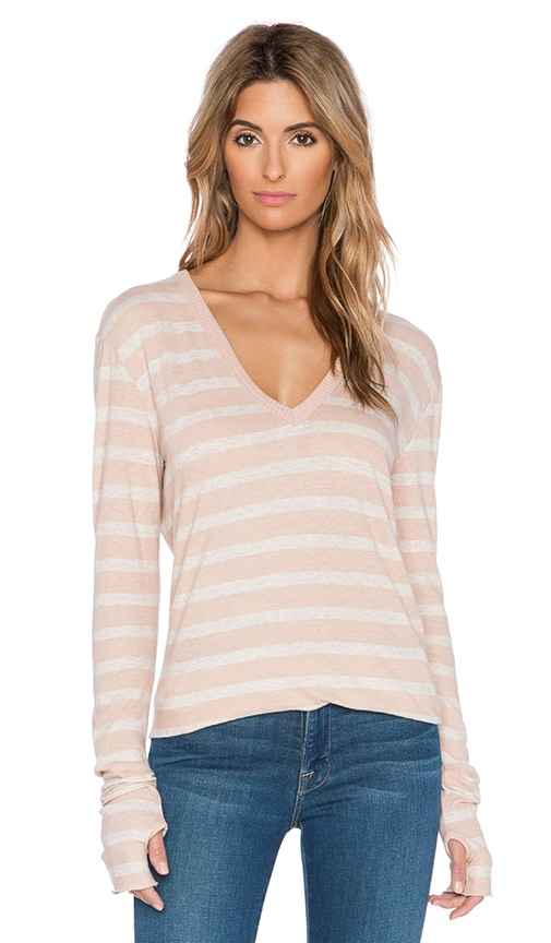 Enza Costa Cashmere Loose V Neck Long Sleeve Tee in Nude & Oatmeal