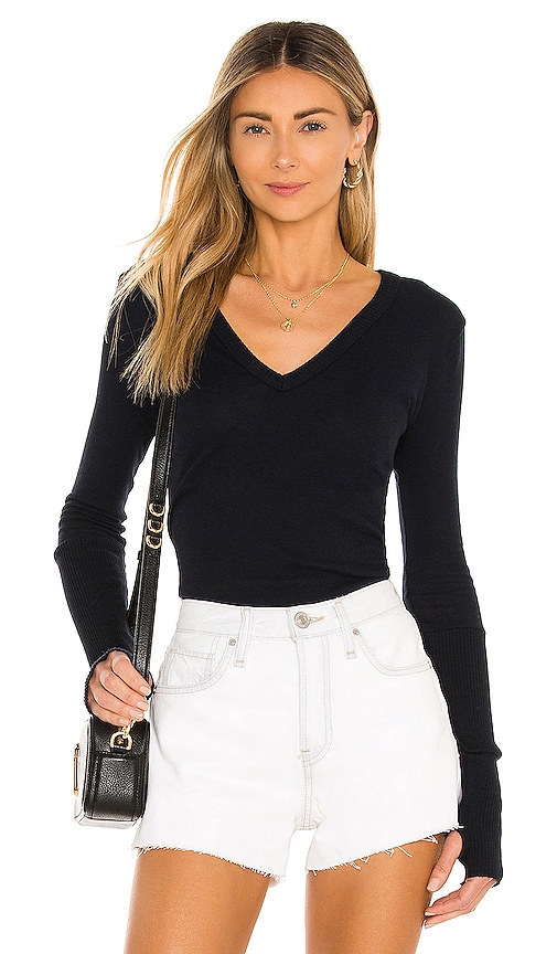 Enza Costa Cashmere Cuffed V Neck Long Sleeve Tee in Navy