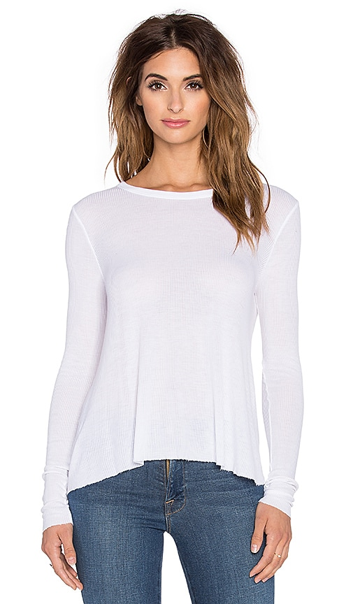 Enza Costa Silk Rib Wide Long Sleeve Tee in White