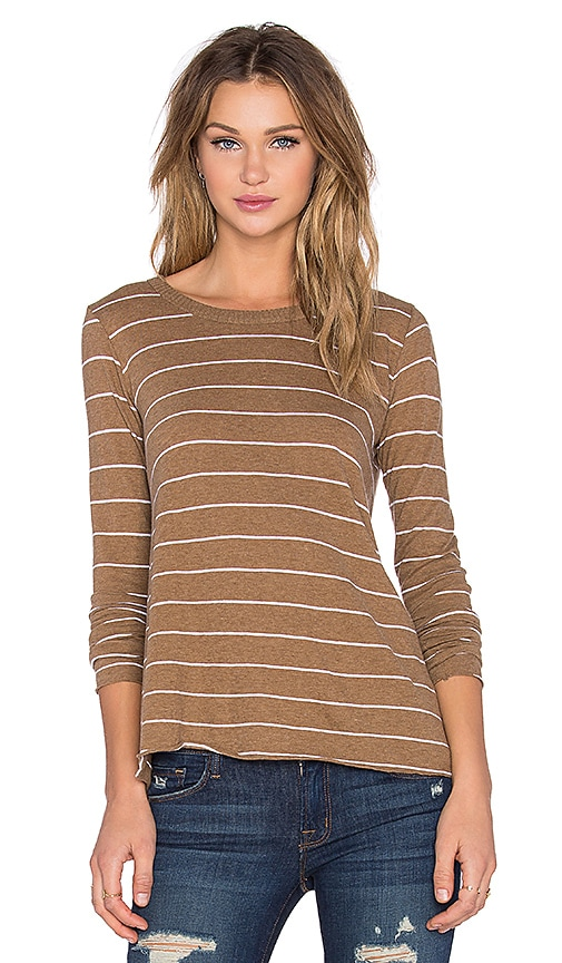 Enza Costa Cashmere Long Sleeve Flare Top in Camel and White
