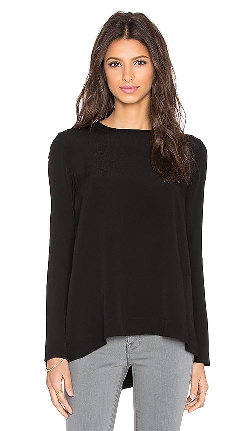 Enza Costa Long Sleeve Trapeze Top in Black