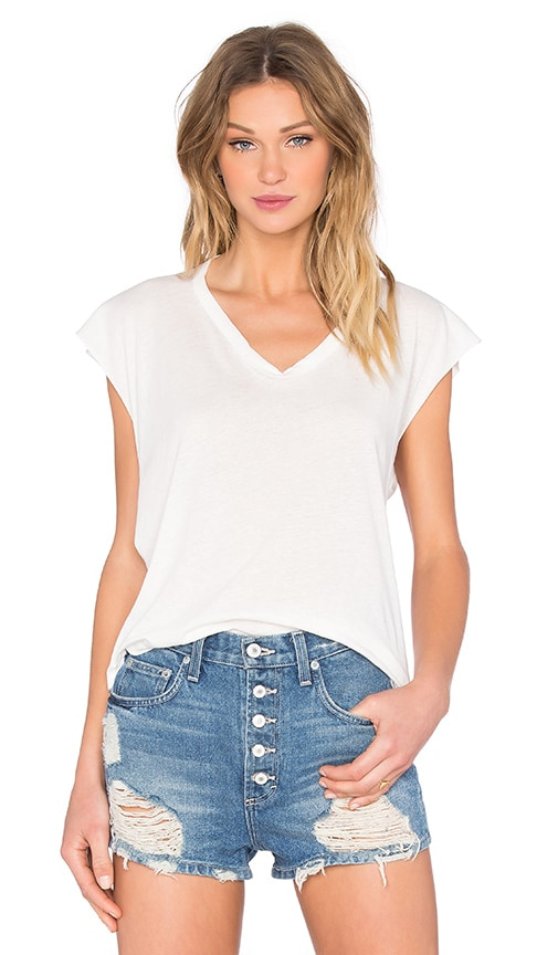 Enza Costa Sleevless Cropped V-Neck Tee in Cloud