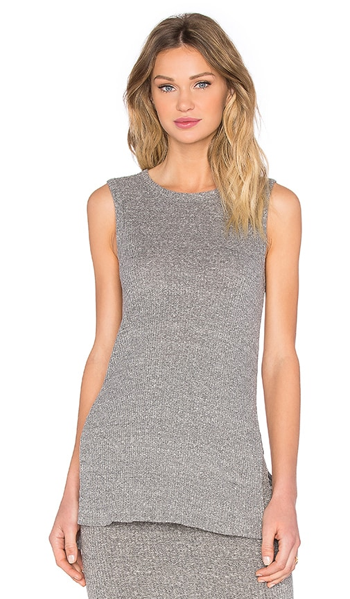 Enza Costa Rib Easy Sleeveless Tunic in Gray