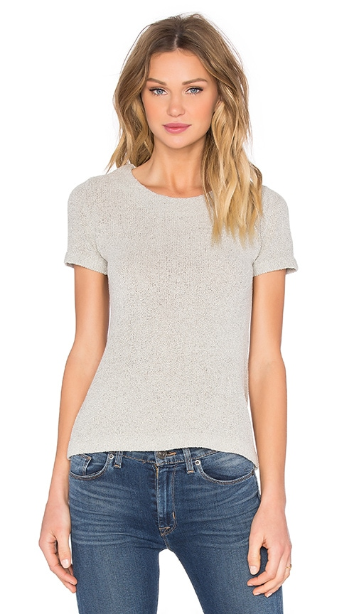 Enza Costa Easy Crew Neck Tee in Light Gray