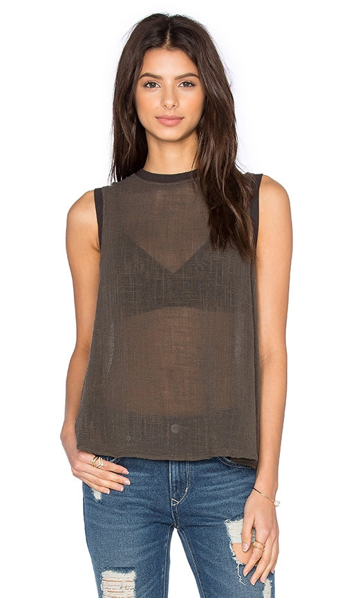 Enza Costa Sleeveless Trapeze Top in Green