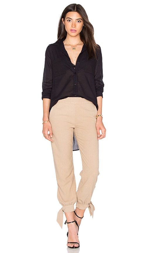 Enza Costa Peasant Hi-Lo Shirt in Nuit