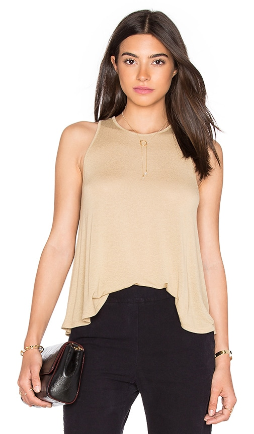 Enza Costa Stretch Crepe Jersey Trapeze Tank in Brown
