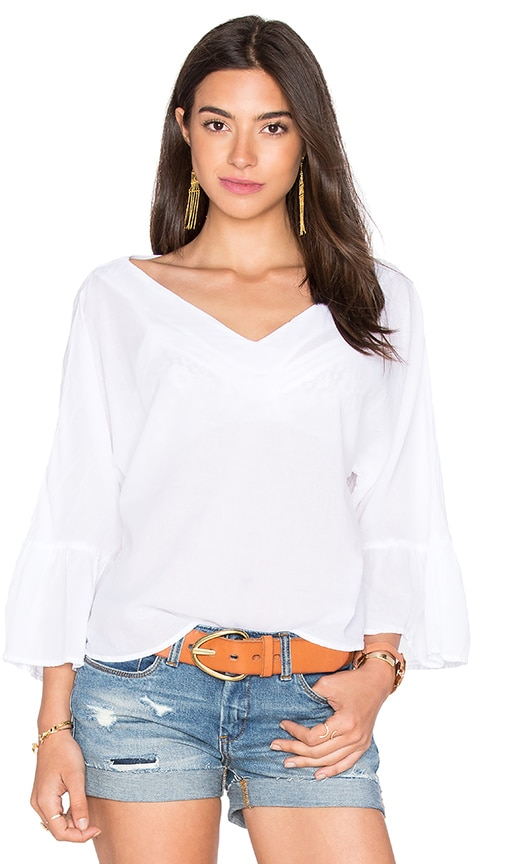 Enza Costa Peasant Voile Loose Ruffle Sleeve Top in White