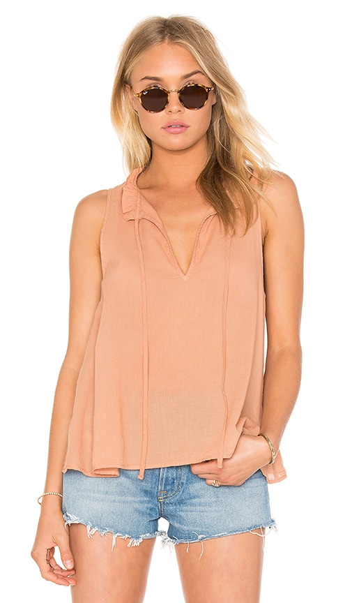 Enza Costa Peasant Voile Ruffle Neck Henley Tank in Rust
