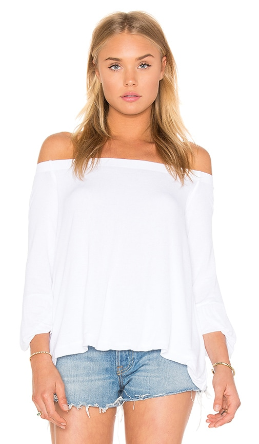 Enza Costa Stretch Crepe Jersey Off Shoulder Top in White