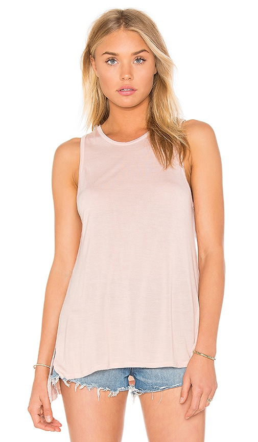 Enza Costa Silk Rib Jersey Side Slit Sheath Tank in Peach
