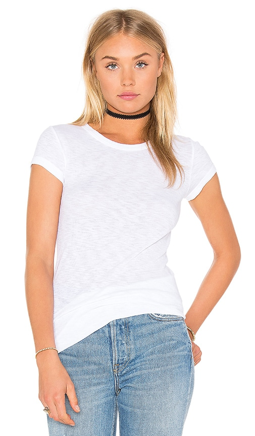 Enza Costa Cotton Slub Rib Fitted Cap Sleeve Tee in White