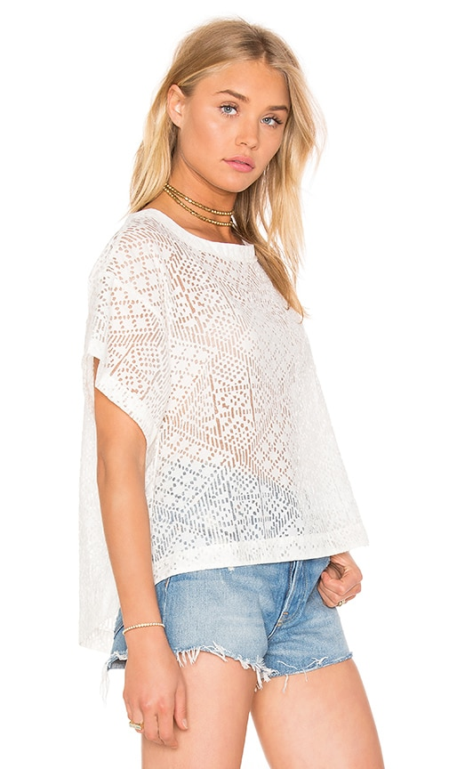 Enza Costa Burnout Viscose Cropped Boxy Top in White