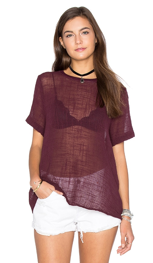 Enza Costa Cotton Gauze Short Sleeve Trapeze Top in Burgundy
