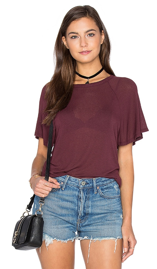Enza Costa Stretch Crepe Jersey Flutter Sleeve Raglan Top in Burgundy