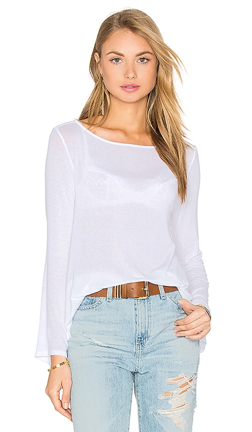Enza Costa Stretch Crepe Jersey Bell Sleeve Boatneck Top in White