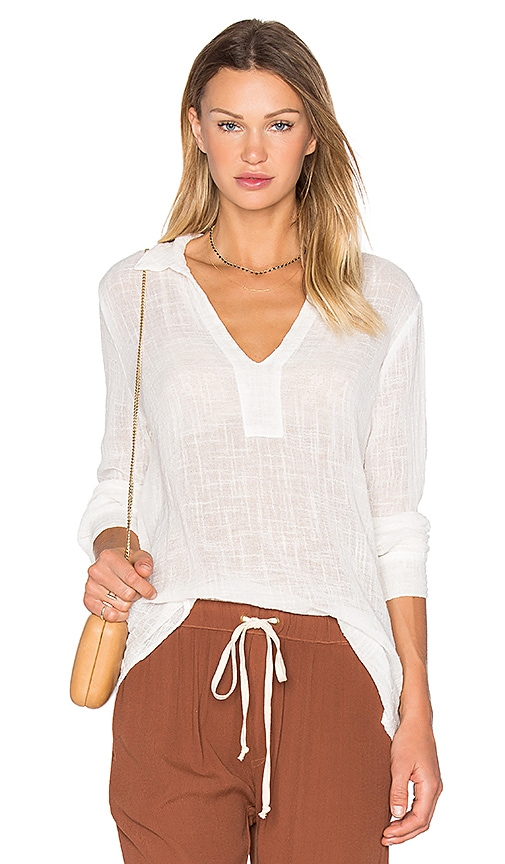 Enza Costa Long Sleeve Henley Top in White