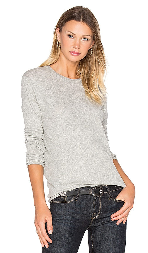 Enza Costa Cashmere Loose Crew Neck Top in Gray
