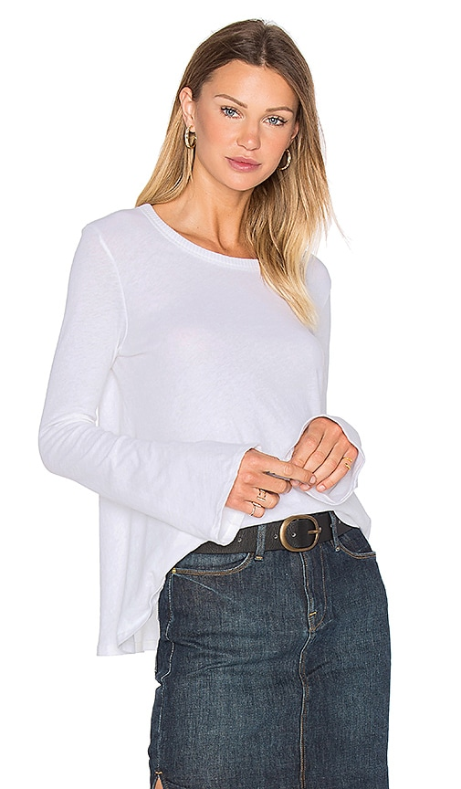 Enza Costa Cashmere Bell Sleeve Flare Top in White