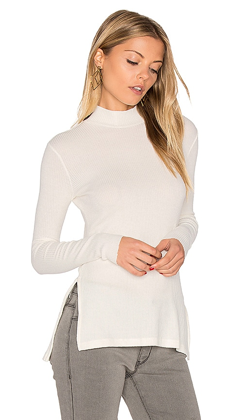 Enza Costa Long Sleeve Mock Neck Slit Tunic in White