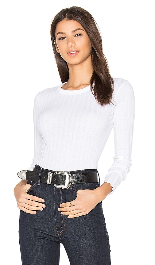 Enza Costa Cashmere Rib Long Sleeve Tee in White