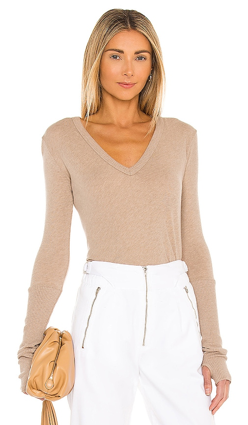 Enza Costa Rib Cuff V Neck Long Sleeve Tee in Beige