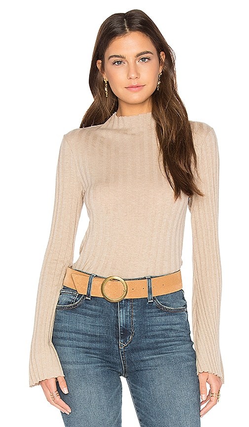 Enza Costa Cashmere Rib Mock Neck Tee in Beige