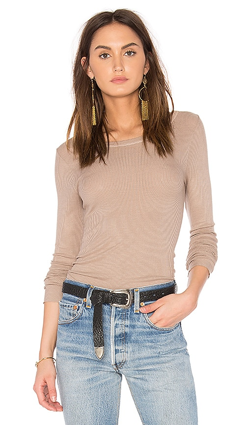 Enza Costa Rib Long Sleeve Top in Beige