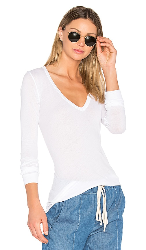 Enza Costa V Neck Long Sleeve Top in White