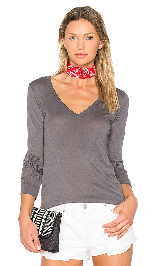 Enza Costa V Neck Long Sleeve Tee in Brown