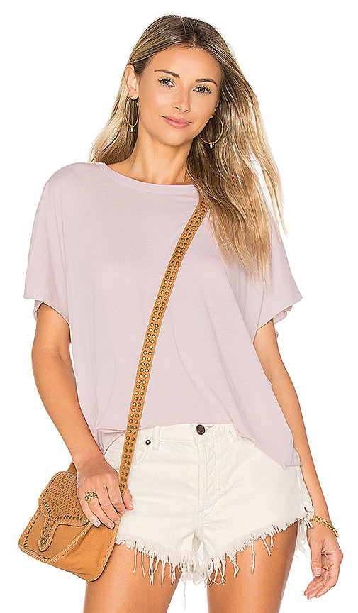 Enza Costa Crop Crew Tee in Lavender