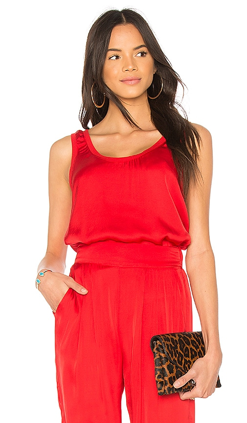 Enza Costa Scoop Tank in Red