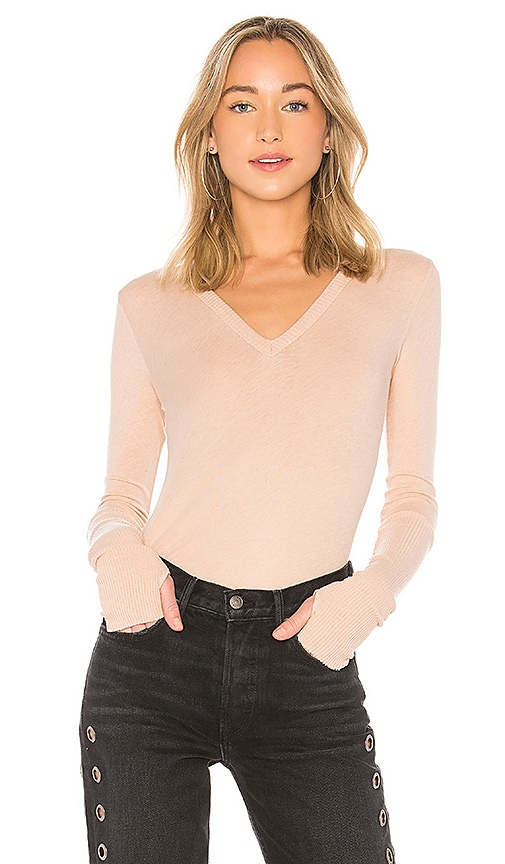 Enza Costa Cashmere Cuffed V Neck Top in Pink