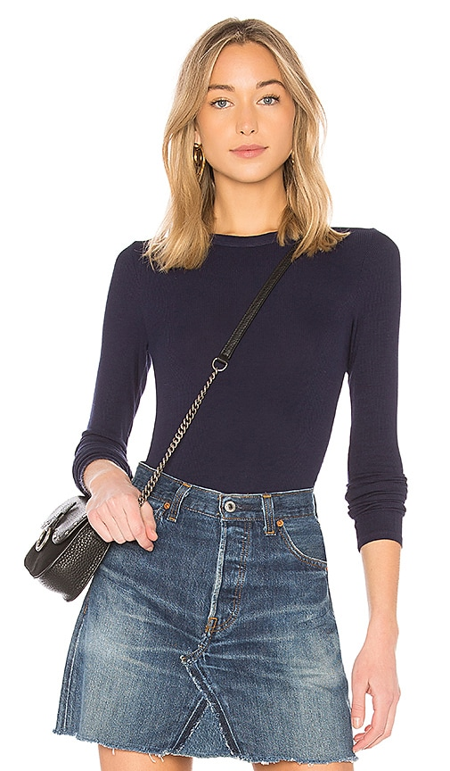 Enza Costa Rib Fitted Long Sleeve Top in Blue