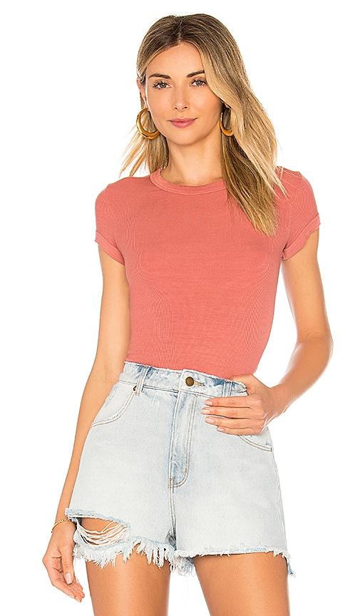 Enza Costa Stretch Silk Rib Cap Sleeve Top in Rose