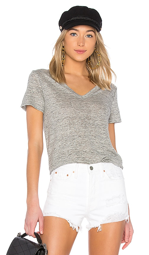 Enza Costa Linen Loose Short Sleeve Tee in Gray